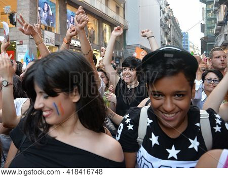 Naples, Italy-july 11, 2015: Some Participants In Gay Pride Every Year Brings Together Thousands Of