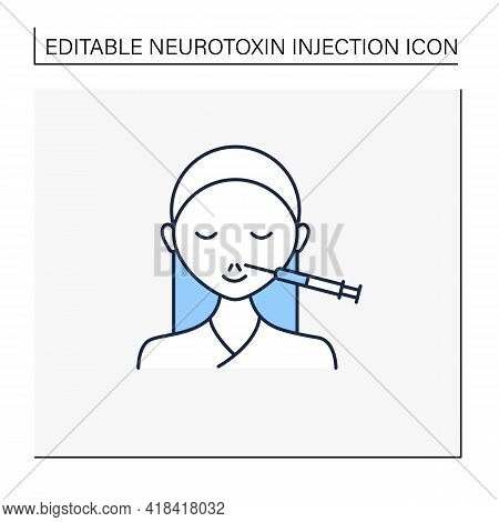 Cosmetic Injection Line Icon.injection In Lips. Increase Lips Size.form Correction. Rejuvenation.bea