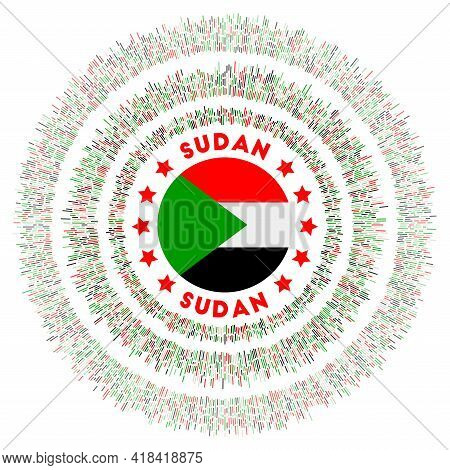 Sudan Symbol. Radiant Country Flag With Colorful Rays. Shiny Sunburst With Sudan Flag. Authentic Vec