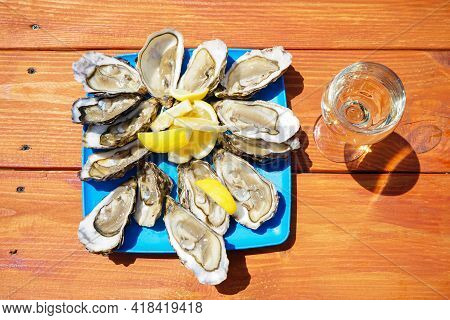 Fresh Oysters In A Plate With A Glass Of White Wine On A Wooden Table. Flat Lay.