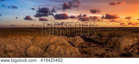 Panoramic Landscape View Of Unique Rock Formation In The Desert Of New Mexico, United States Of Amer