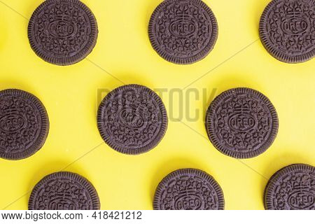 Belarus, Novopolotsk - 25 April, 2021: Oreo Cookies On A Yellow Background Close Up