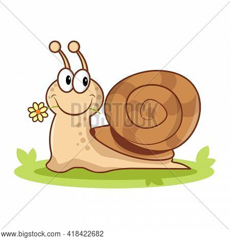Cute Snail On A White Background. Cartoon Style Of Animal. Snail With Flower. Flat Vector Illustrati