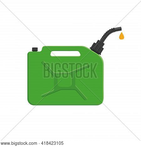Gasoline Canister With Spout And Pouring Petrol Drop. Gas Can Isolated On White Background. Vector C