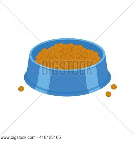 Dog Or Cat Food Bowl. Pet Plastic Plate Full Of Kibble Isolated On White Background. Vector Cartoon