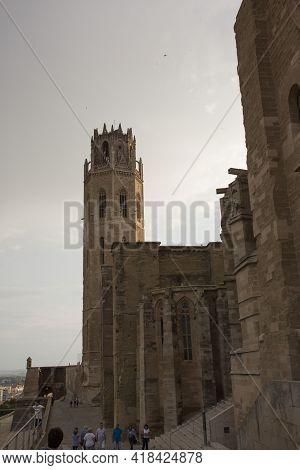 Lleida, Spain, May 1, 2020 - Tower And Fortress Wall Of La Seu Vella Former Roman Catholic Cathedral