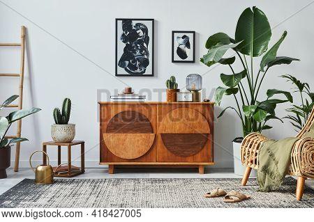 Stylish Scandinavian Composition Of Living Room With Design Commode, Black Mock Up Poster Frames, Ar