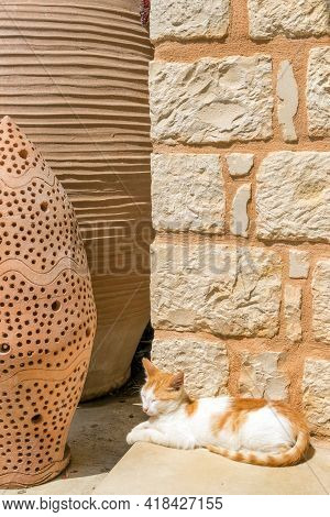 Red House Kitten By Exquisite Traditional Pottery In The Colorful Village Of Margarites,  Crete, Gre