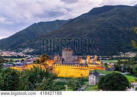Montebello And Castelgrande, Castles In Bellinzona. Unesco World Heritage In Ticino, Switzerland