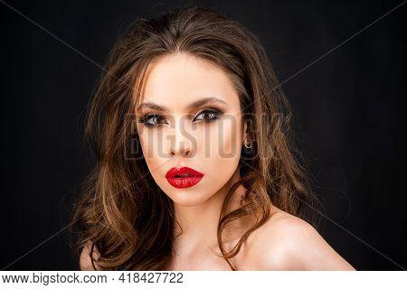 Closeup Of Woman Makeup. Beautiful Make-up With Red Lips, Dark Smokey Eyes.