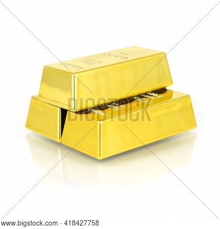 A Stack Of Pure Gold Bullion Bars Isolated Over Clean White With A Small Reflection In The Surface.