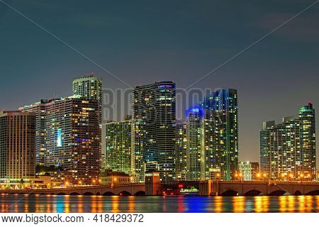 Miami Night Downtown. City Of Miami, Night Panorama Of Downtown Business Skyscrapers.