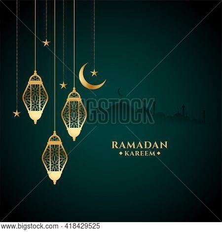 Eid Ramadan Kareem Festival Card With Golden Lantern Design