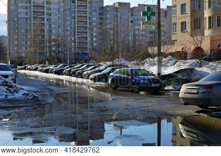 Balashikha, Russia - March 19, 2021. Courtyard In Front Of Residential Buildings Overflowed With Par