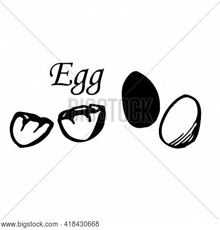 Vector Set Of Egg In Line Art Style. Sketch. Isolated On White Background. Isolated. Hand-drawn Sket