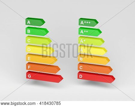 New And Old Energy Label Isolated On Gray Background. Energy Consumption Labelling. 3d Illustration.