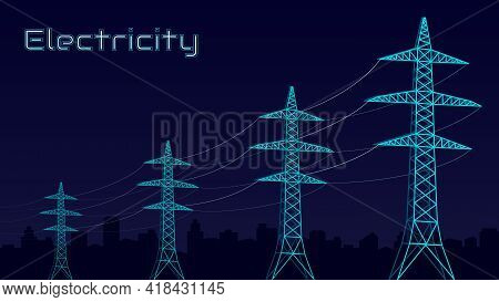 Stylized Vector Blue Electric Tower, Electricity Concept, Power Transmission, Urbanization. On A Dar
