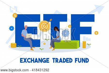 Exchange Traded Fund Concept Man And Woman Working On Laptop Sit On Money Dollar Currency Etf Word A