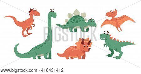 Funny Set Of Dinosaurs. Stegosaurus, Triceratops, Brachiosaurus, Brontosaurus, Velociraptor, Pterano