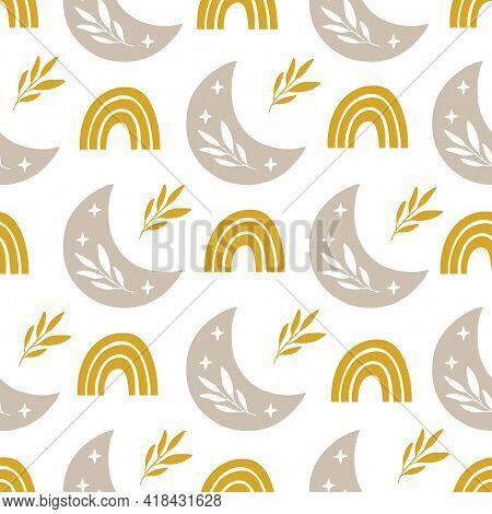 Vector Seamless Pattern With Modern Rainbow, Floral Moon, Stars. Trendy Rainbows On Yellow Backgroun
