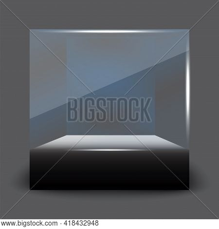 3d Mockup With Black Glass Showcase Form Cube. Interior Design. Vector Illustration. Stock Image. Ep