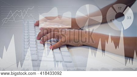 Composition of digital icons and data processing over woman typing on computer keyboard. global technology and digital interface concept digitally generated image.