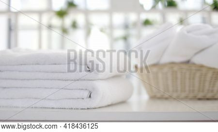 Beautiful Spa Composition On Massage Table , Spa Relax Concept, Copy Space  , Beautiful Spa Set On W