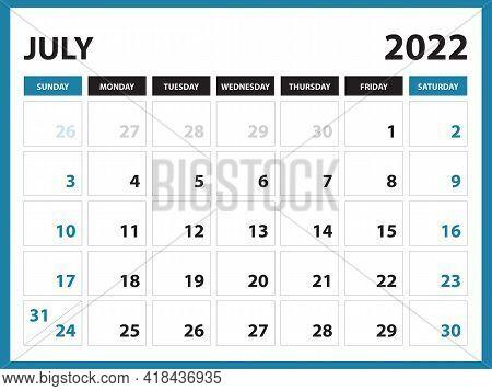 July 2022 Calendar Printable, Calendar 2022, Planner Design, Desk Calendar Template, Wall Calendar,