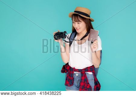 Beautiful Portrait Young Asian Woman Wear Hat Smile Confident Holding Passport And Camera With Trave