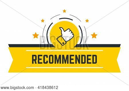 Recommended Banner With Thumb Up And Stars Vector