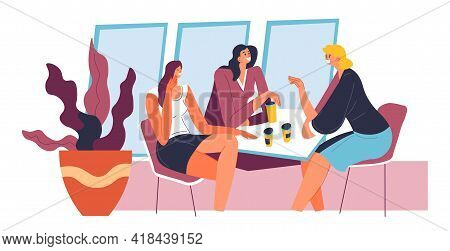 Female Characters Sitting In Cafe And Talking