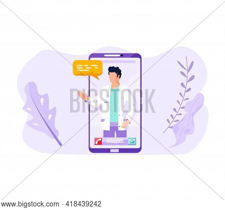 Mobile Application Online Consultation Doctor. Young Opportunity To Communicate With Therapist Onlin