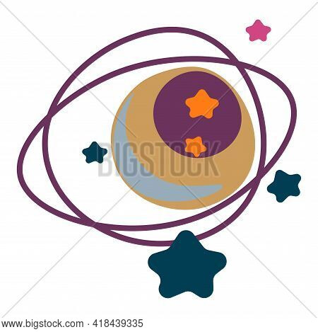 Planet With Orbit And Stars, Outer Space Galaxy
