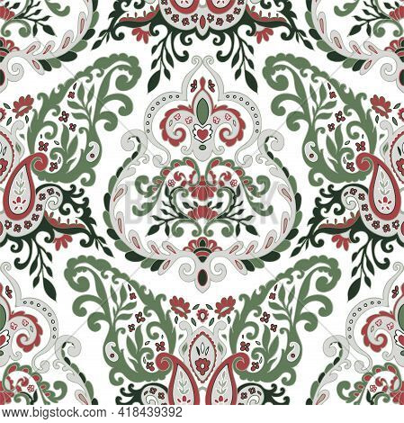 Floral Leaves And Spring Branches Seamless Pattern