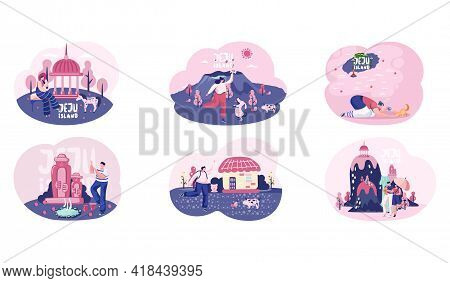 Wellcom To Jeju Island In South Korea, Traditional Elements. Layout Of Postcard With Invitation To I