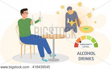 Dependent Guy Drinks Alcohol Alone Sitting On Chair At Table. Loneliness Addicted Male Character Wit
