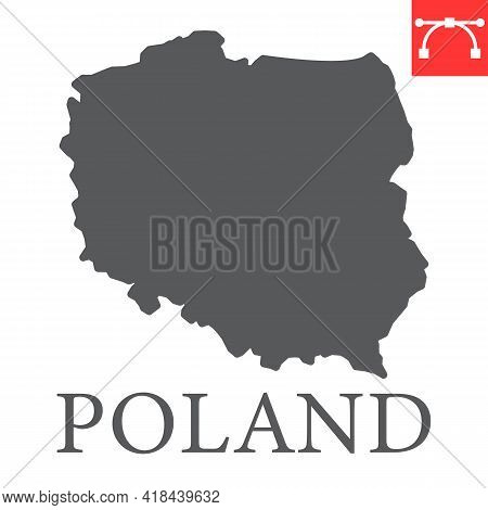 Map Of Poland Glyph Icon, Country And Travel, Poland Map Vector Icon, Vector Graphics, Editable Stro