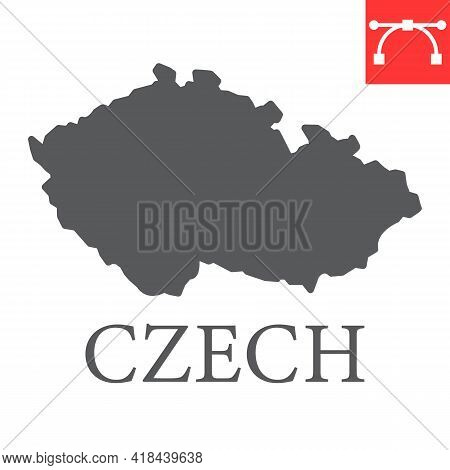 Map Of Czech Republic Glyph Icon, Country And Travel, Czech Map Vector Icon, Vector Graphics, Editab