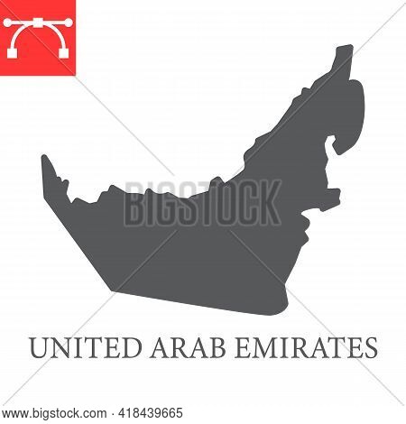 Map Of United Arab Emirates Glyph Icon, Country And Travel, Uae Map Vector Icon, Vector Graphics, Ed