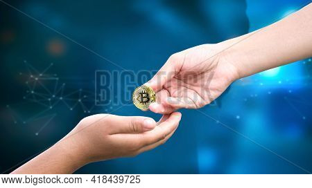 Financial Concept: Gives The Bitcoin  In The Background Network