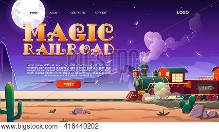 Magic Railroad Website With Steam Train In Wild West. Children Train In Amusement Park Or Festival.