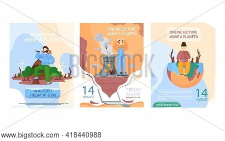 Set Of Illustrations About Planet Destroyed By Human Activity. Globe Polluted By Factories And Peopl