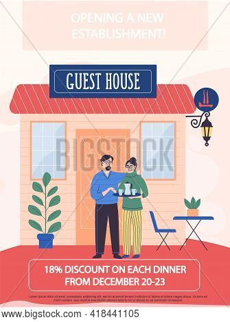 Announcement Of Discounts For Dinner In Cafe. Opening Of New Guest House Establishment Concept Poste