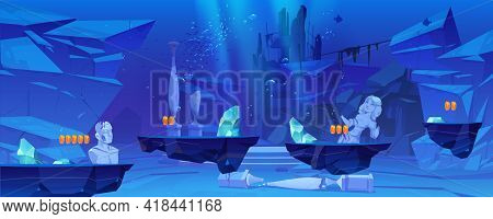 Game Level Background With Platforms Under Water In Sea Or Ocean. Underwater Landscape With Ancient