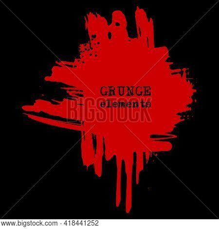 Vector Splats Splashes And Blobs Of Red Ink Paint In Different Shapes Drips Isolated On Black