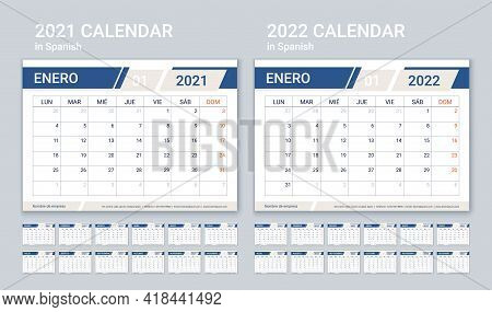 2021 2022 Spanish Calendar. Planner Template. Week Starts Monday. Vector. Calender Layout With 12 Mo