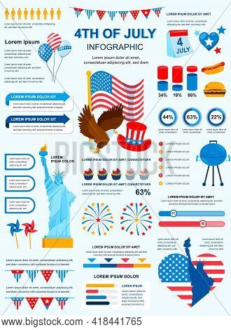 4th Of July Banner With Infographic Elements. Holiday Poster Template With Flowchart, Data Visualiza