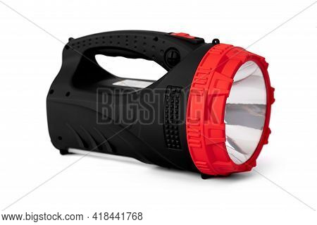 Large Portable Flashlight In Hand On White Isolated Background