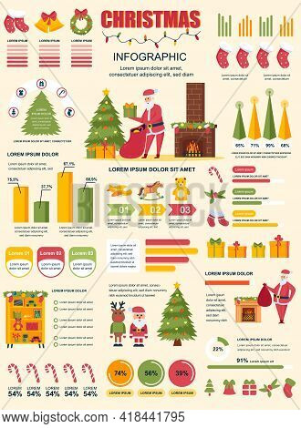 Christmas Banner With Infographic Elements. Holiday Poster Template With Flowchart, Data Visualizati