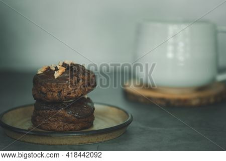 Chocolate Scones With Nut Served With A Cup Hot Coffee, Time For A Break